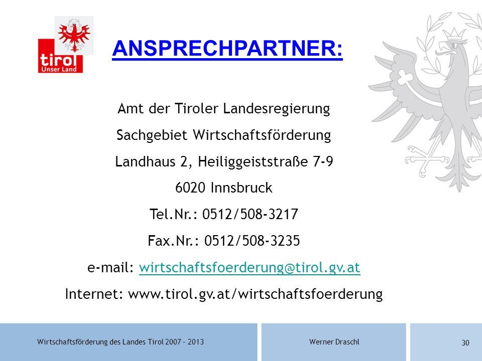 ANSPRECHPARTNER: Amt der Tiroler Landesregierung