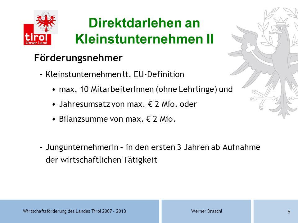 Direktdarlehen an Kleinstunternehmen II