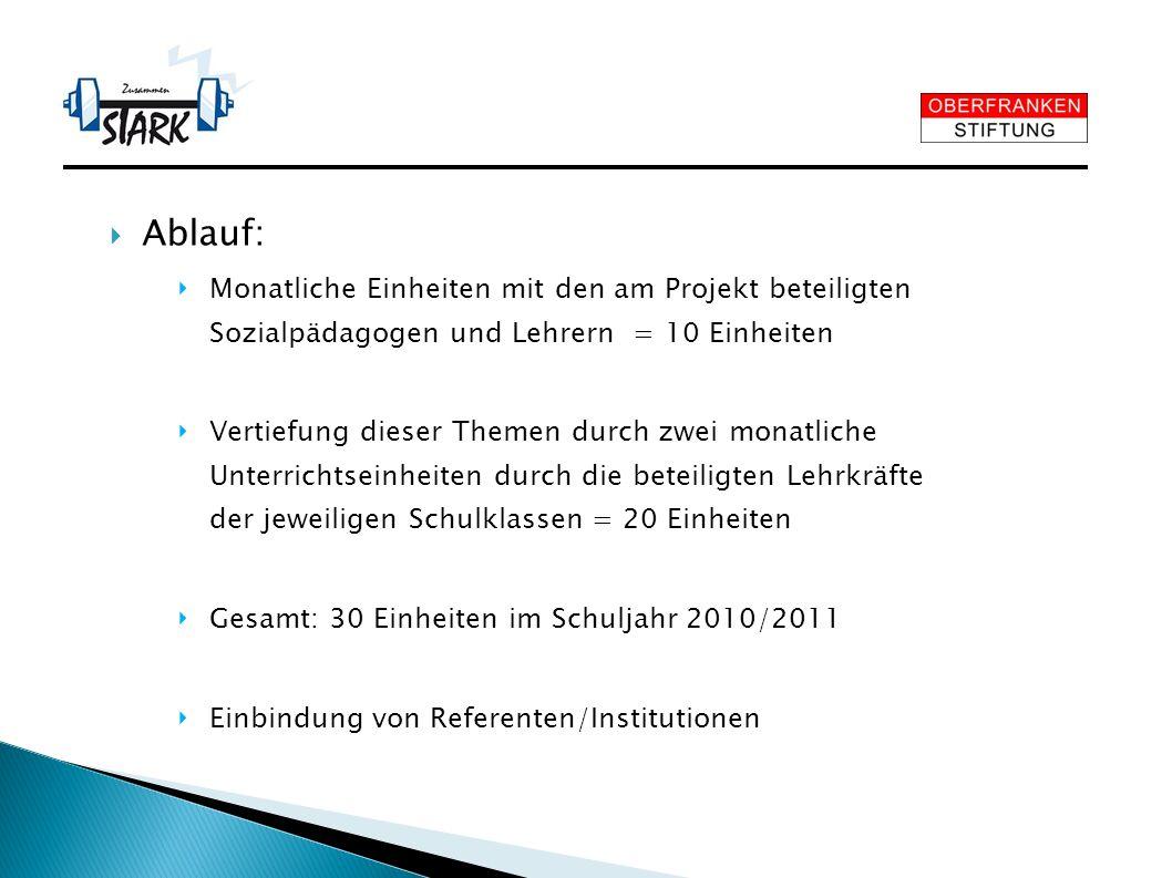 Ablauf: Monatliche Einheiten mit den am Projekt beteiligten Sozialpädagogen und Lehrern = 10 Einheiten.