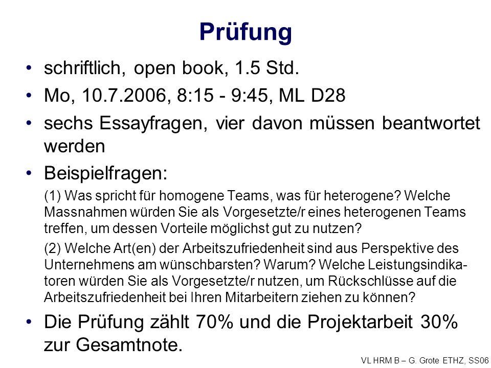 Prüfung schriftlich, open book, 1.5 Std.