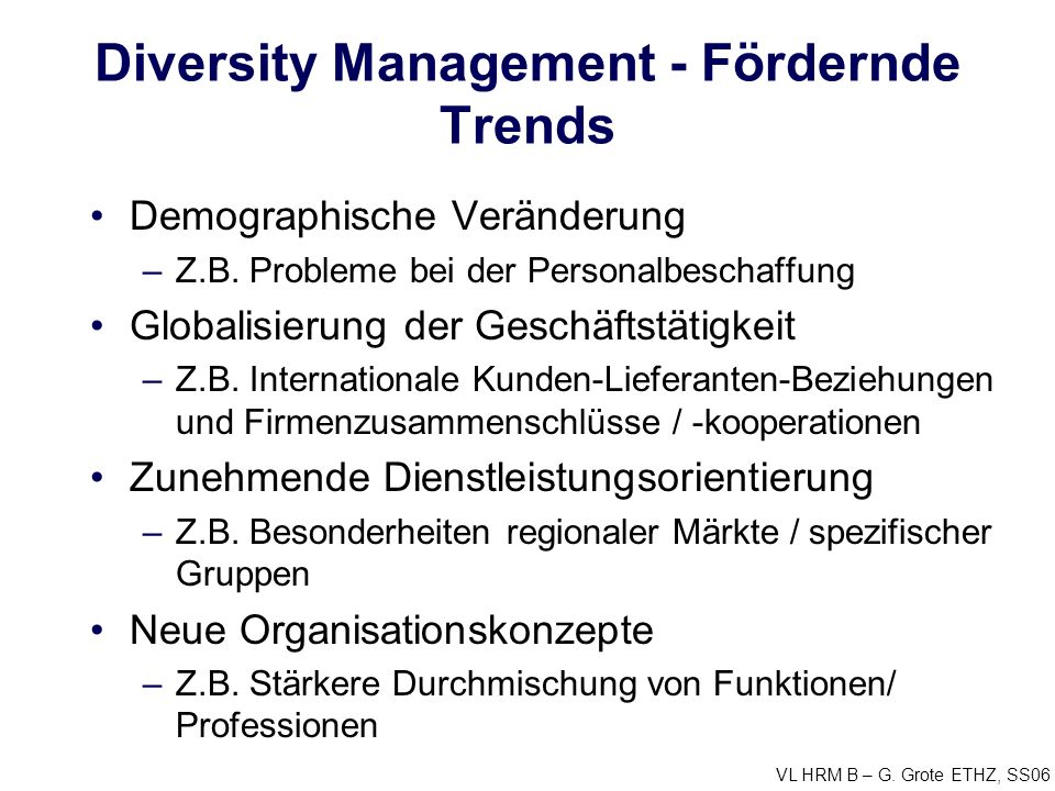 Diversity Management - Fördernde Trends