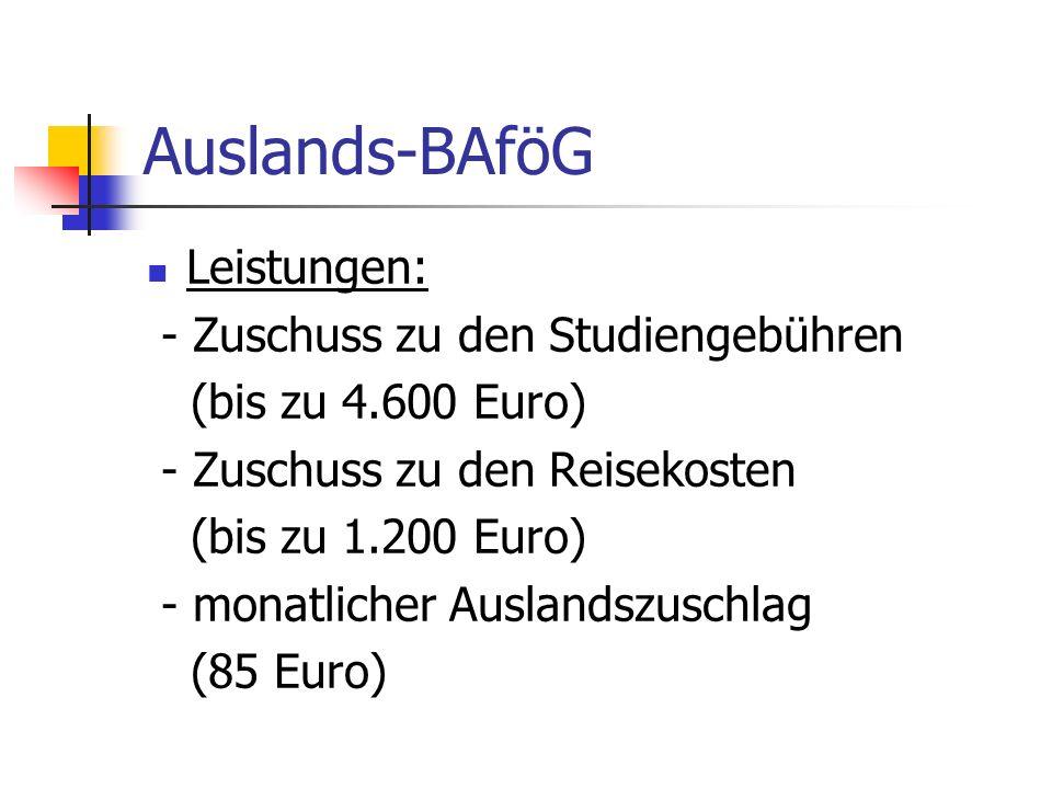 Auslands-BAföG Leistungen: - Zuschuss zu den Studiengebühren