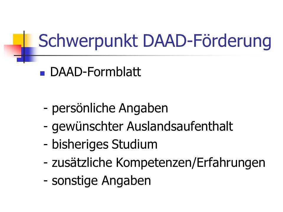Schwerpunkt DAAD-Förderung