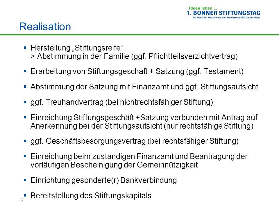 """Realisation Herstellung """"Stiftungsreife > Abstimmung in der Familie (ggf. Pflichtteilsverzichtvertrag)"""