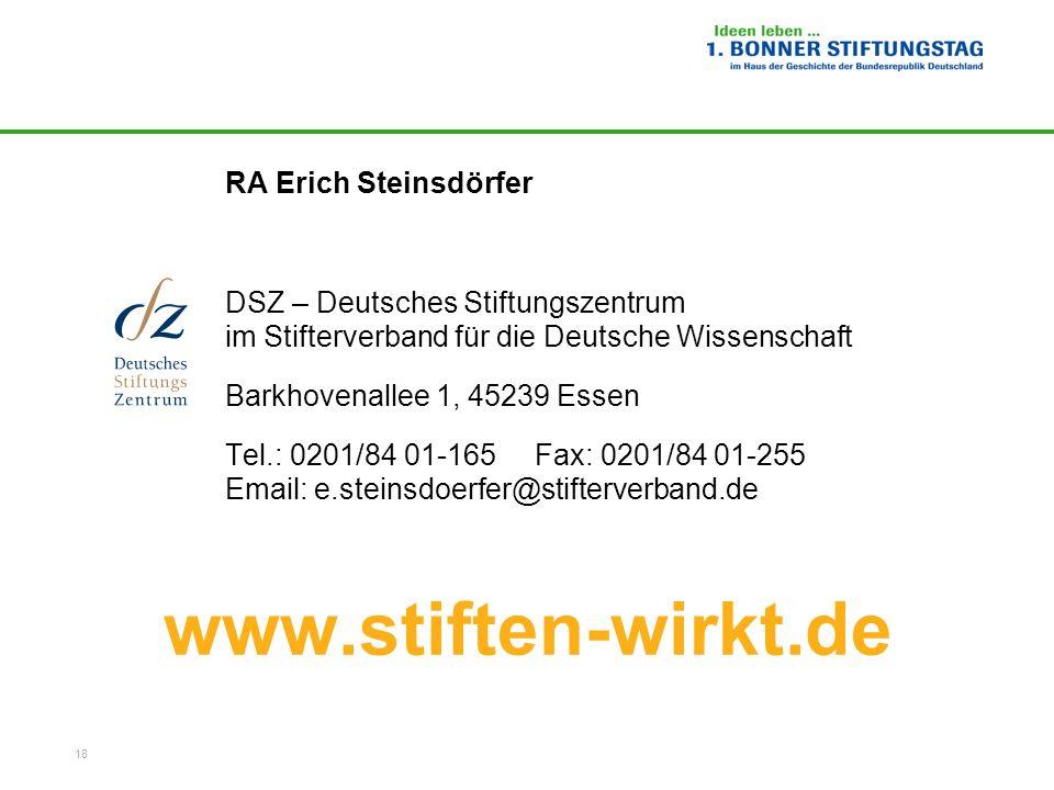 www.stiften-wirkt.de RA Erich Steinsdörfer