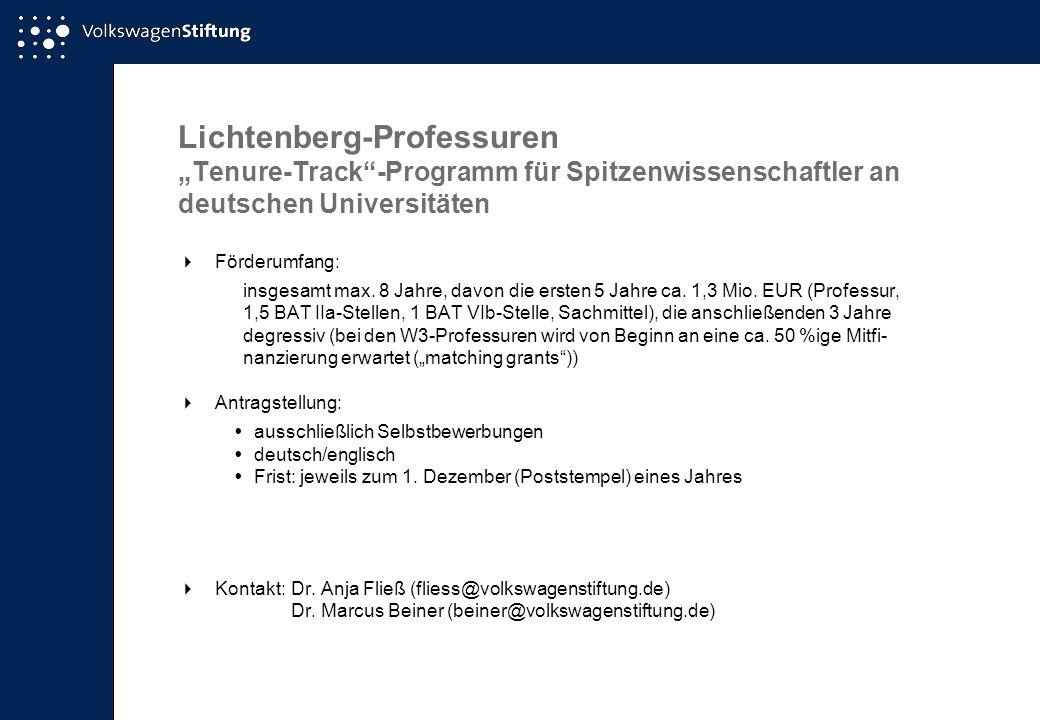 """Lichtenberg-Professuren """"Tenure-Track -Programm für Spitzenwissenschaftler an deutschen Universitäten"""