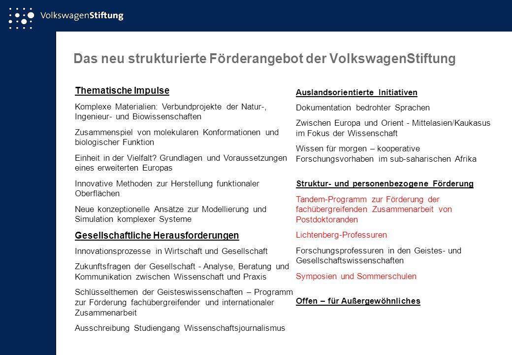 Das neu strukturierte Förderangebot der VolkswagenStiftung