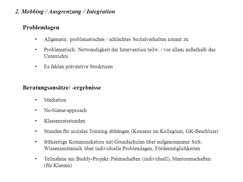 2. Mobbing / Ausgrenzung / Integration