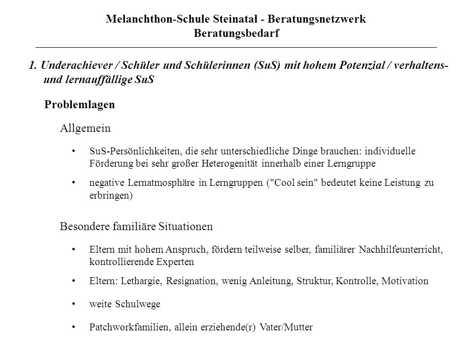 Melanchthon-Schule Steinatal - Beratungsnetzwerk Beratungsbedarf