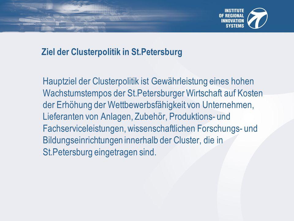 Ziel der Clusterpolitik in St.Petersburg