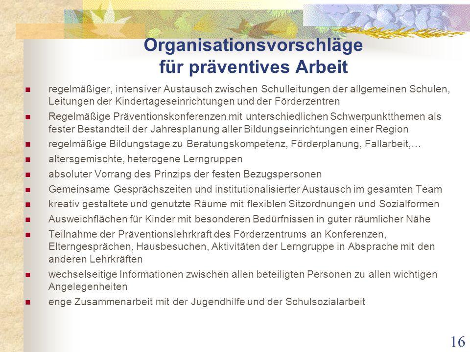 Organisationsvorschläge für präventives Arbeit