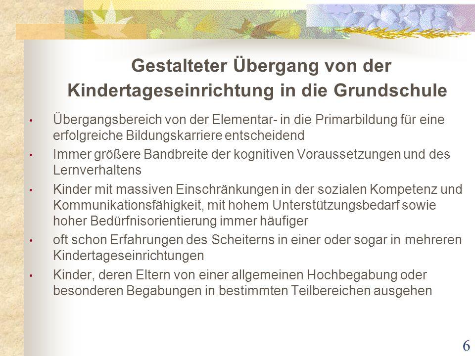 Gestalteter Übergang von der Kindertageseinrichtung in die Grundschule