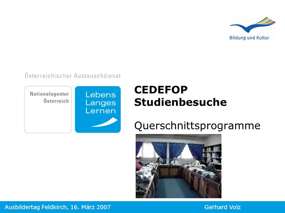 CEDEFOP Studienbesuche Querschnittsprogramme