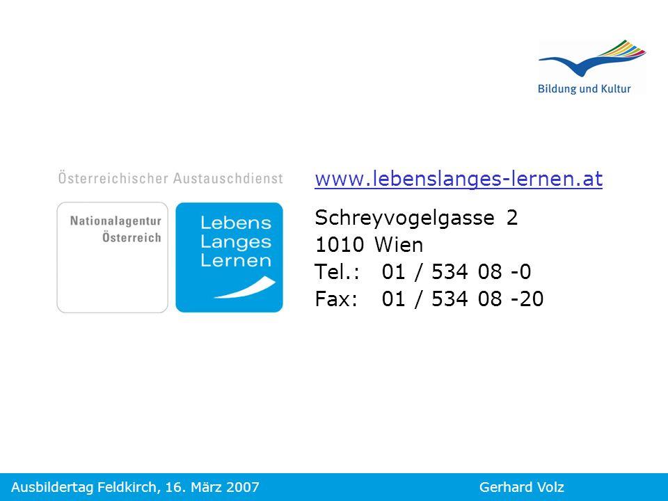 www.lebenslanges-lernen.at Schreyvogelgasse 2 1010 Wien Tel.: 01 / 534 08 -0 Fax: 01 / 534 08 -20