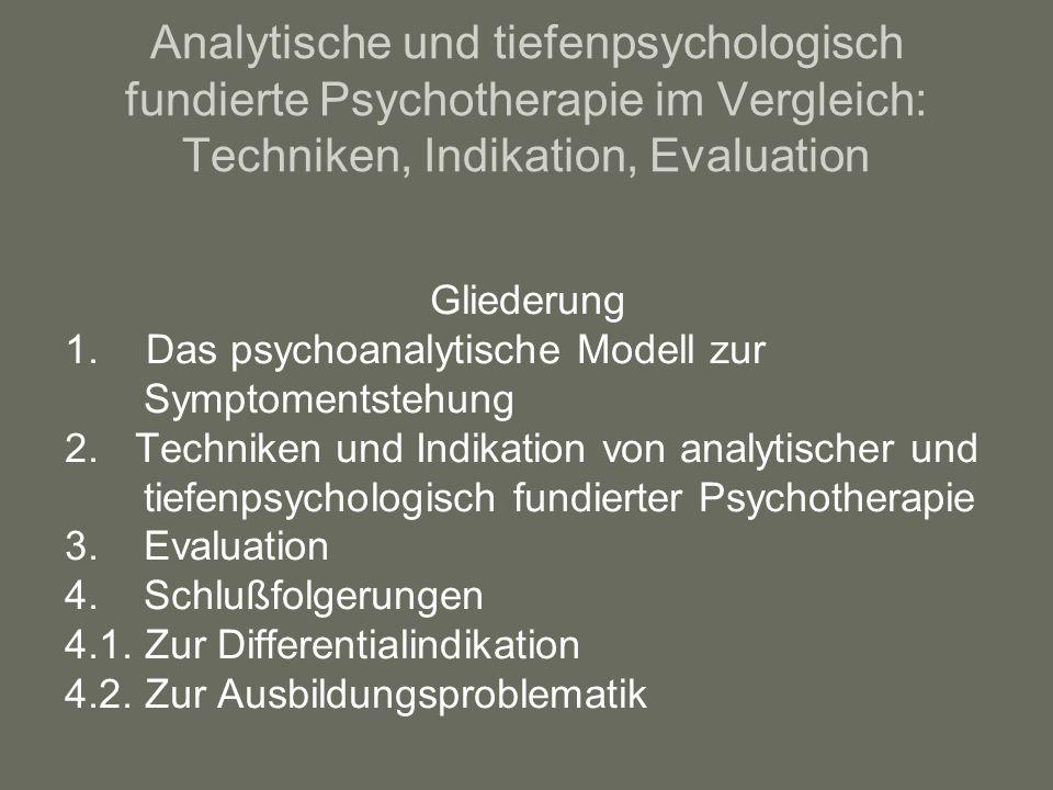 Analytische und tiefenpsychologisch fundierte Psychotherapie im Vergleich: Techniken, Indikation, Evaluation