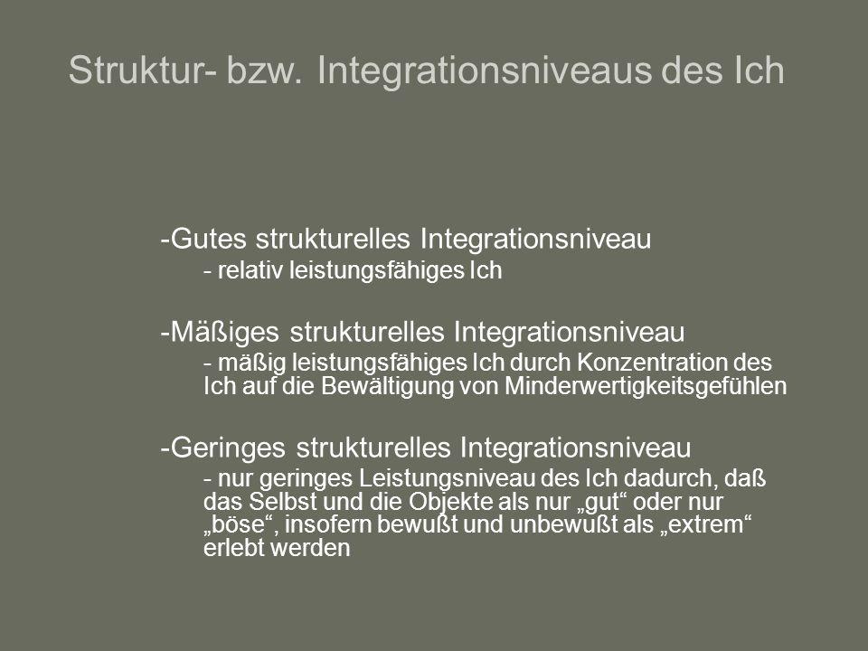 Struktur- bzw. Integrationsniveaus des Ich
