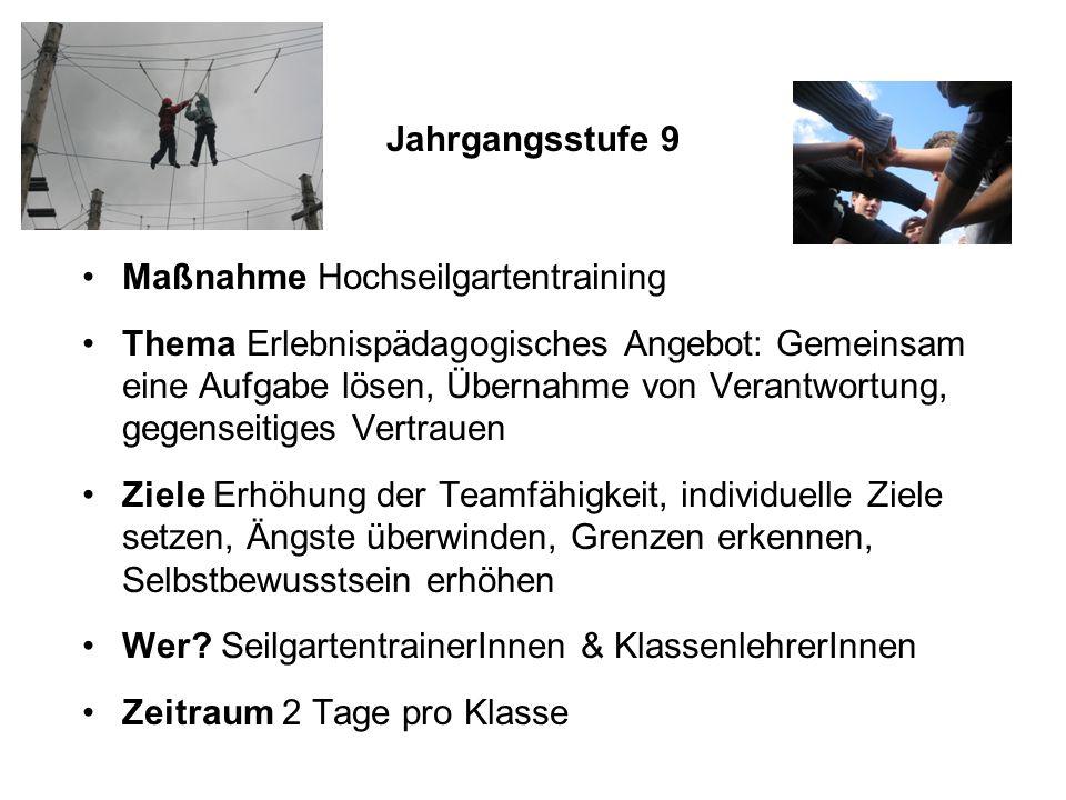 Jahrgangsstufe 9 Maßnahme Hochseilgartentraining.