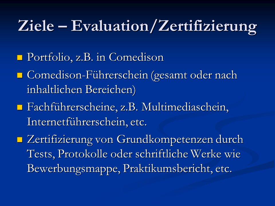 Ziele – Evaluation/Zertifizierung