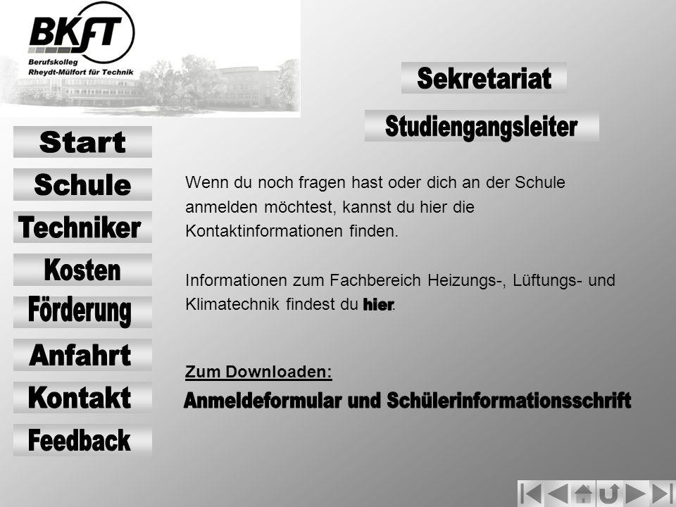 Anmeldeformular und Schülerinformationsschrift