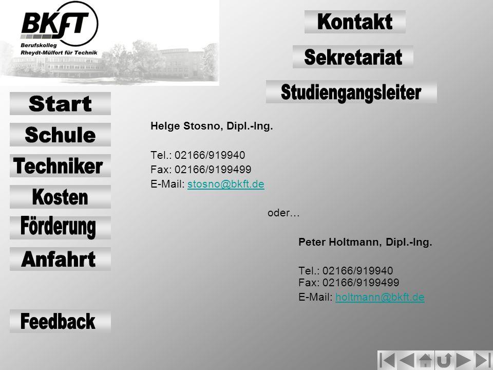 Kontakt Sekretariat Studiengangsleiter Start Schule Techniker Kosten