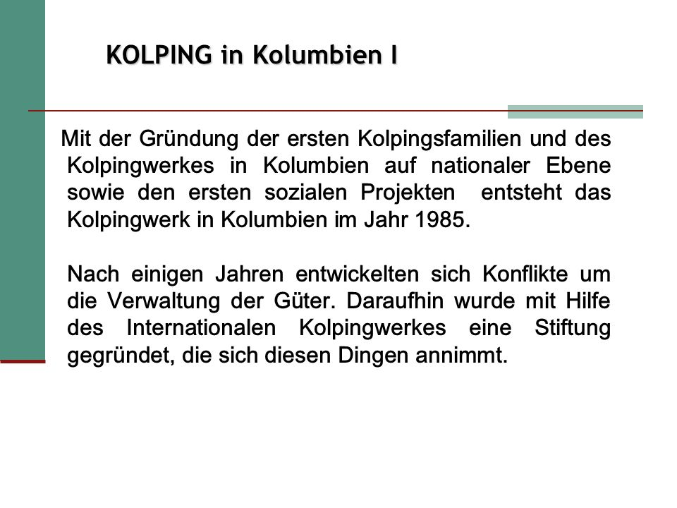KOLPING in Kolumbien I