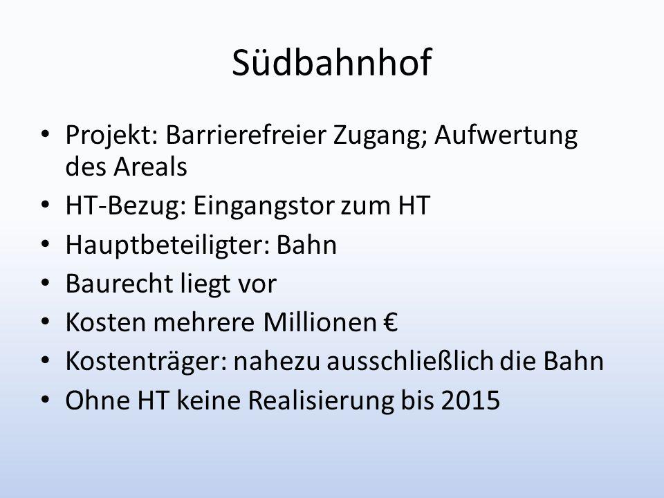 Südbahnhof Projekt: Barrierefreier Zugang; Aufwertung des Areals