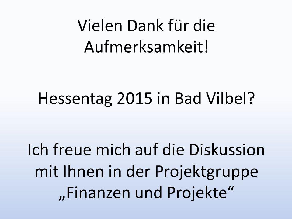 Vielen Dank für die Aufmerksamkeit. Hessentag 2015 in Bad Vilbel