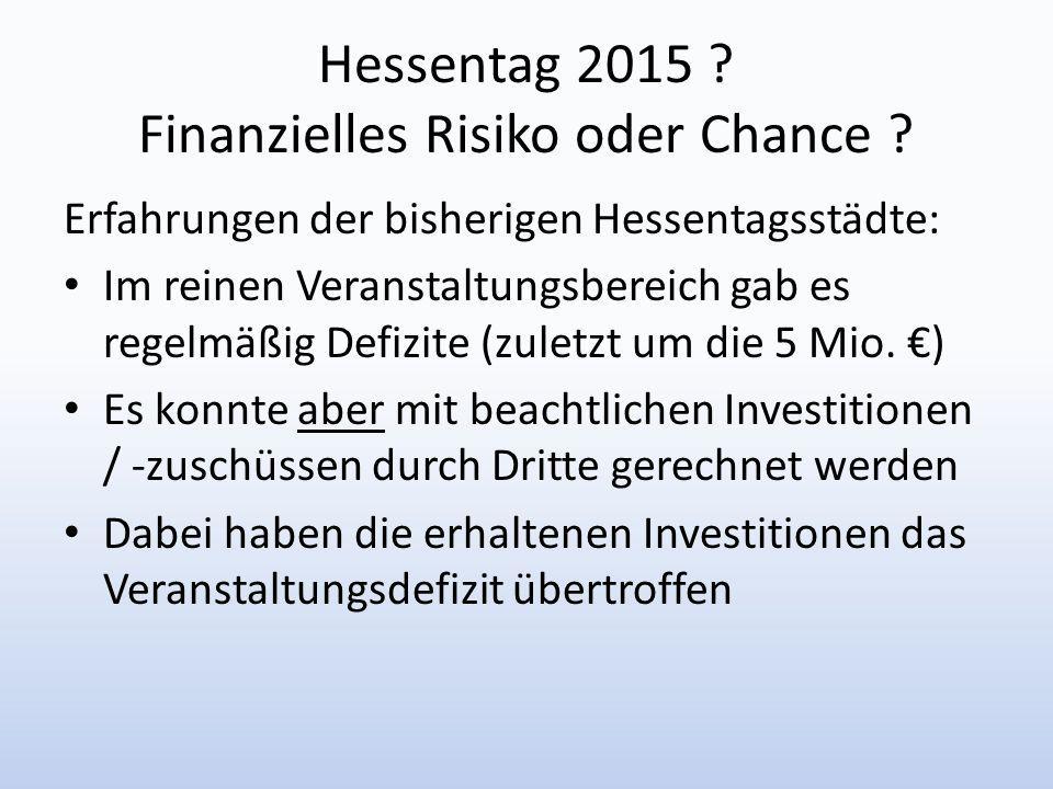 Hessentag 2015 Finanzielles Risiko oder Chance