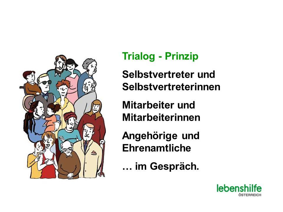 Trialog - Prinzip Selbstvertreter und Selbstvertreterinnen. Mitarbeiter und Mitarbeiterinnen. Angehörige und Ehrenamtliche.