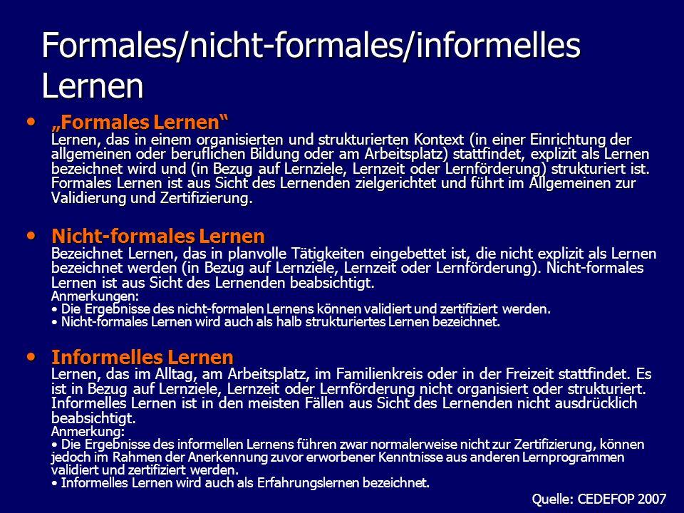 Formales/nicht-formales/informelles Lernen