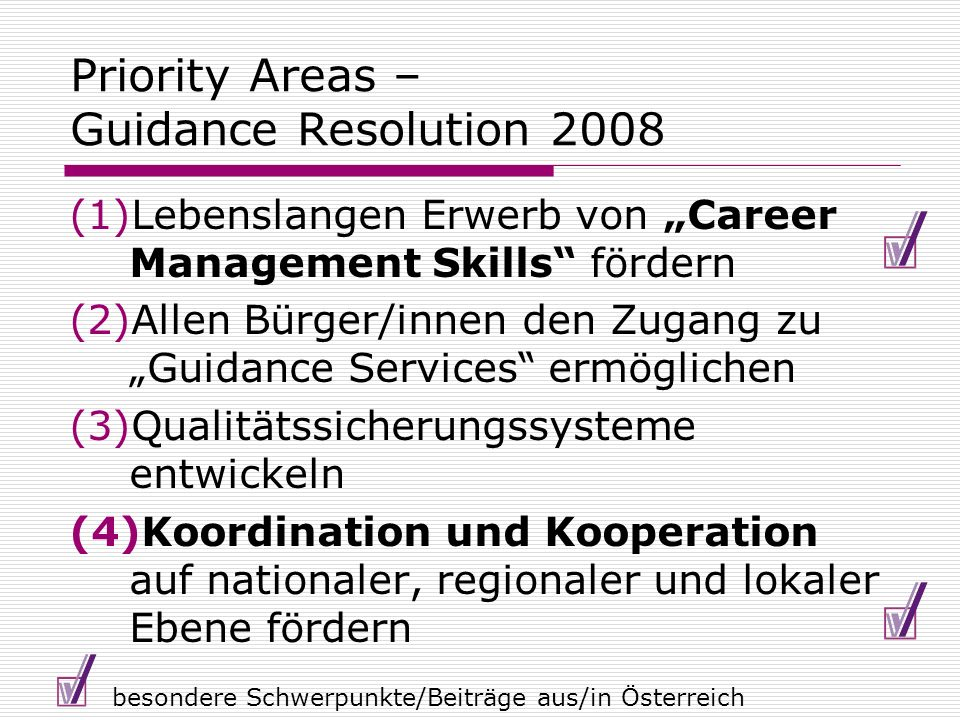 Priority Areas – Guidance Resolution 2008