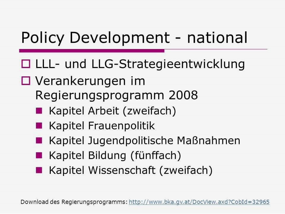 Policy Development - national