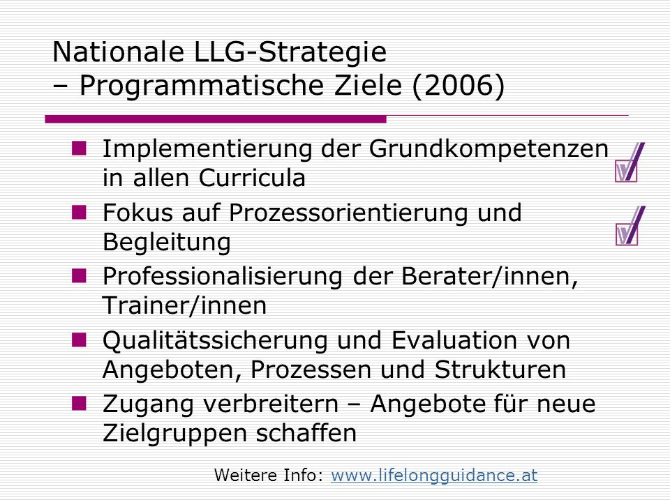 Nationale LLG-Strategie – Programmatische Ziele (2006)