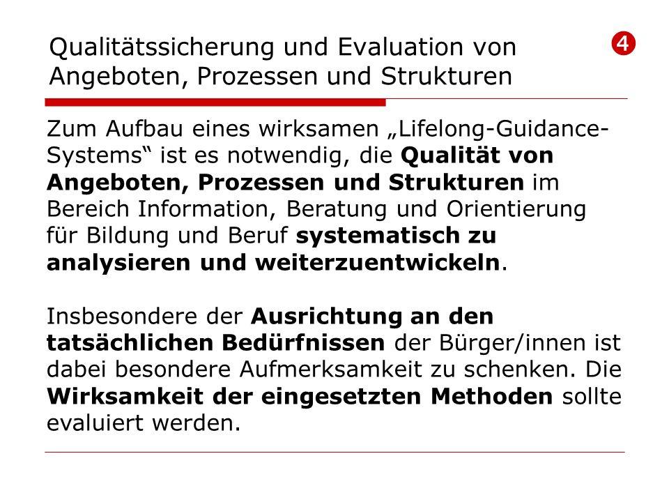 Qualitätssicherung und Evaluation von Angeboten, Prozessen und Strukturen