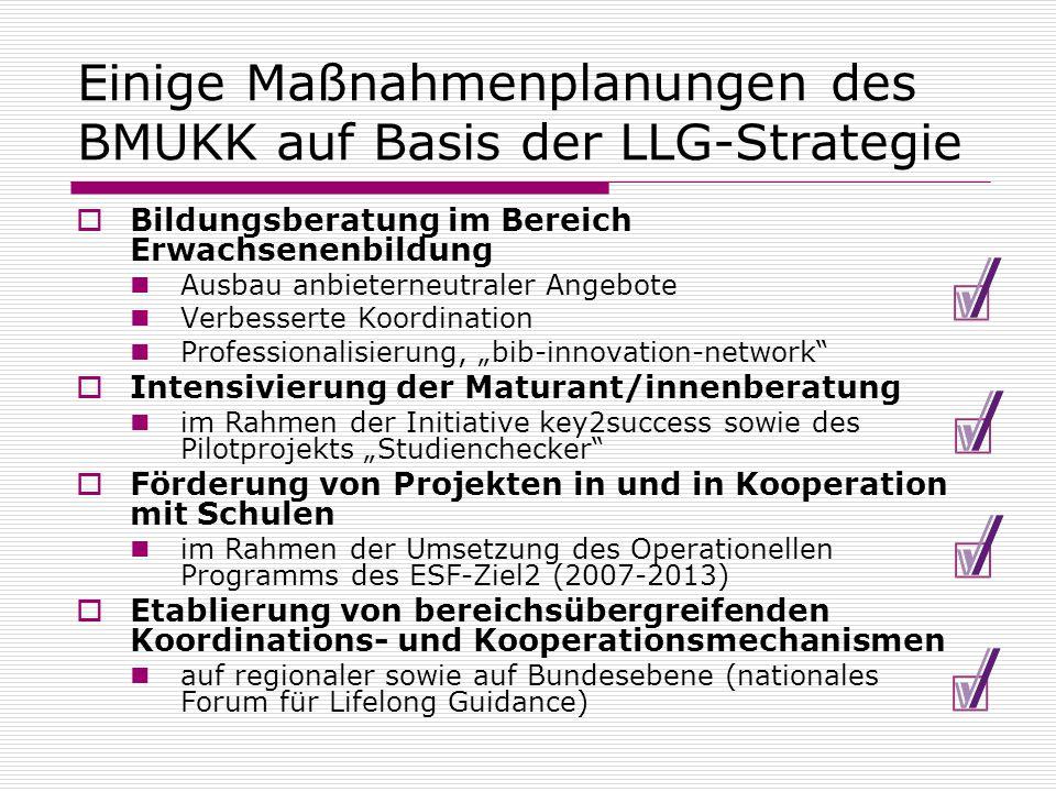 Einige Maßnahmenplanungen des BMUKK auf Basis der LLG-Strategie