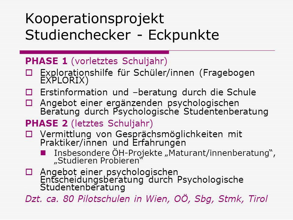 Kooperationsprojekt Studienchecker - Eckpunkte