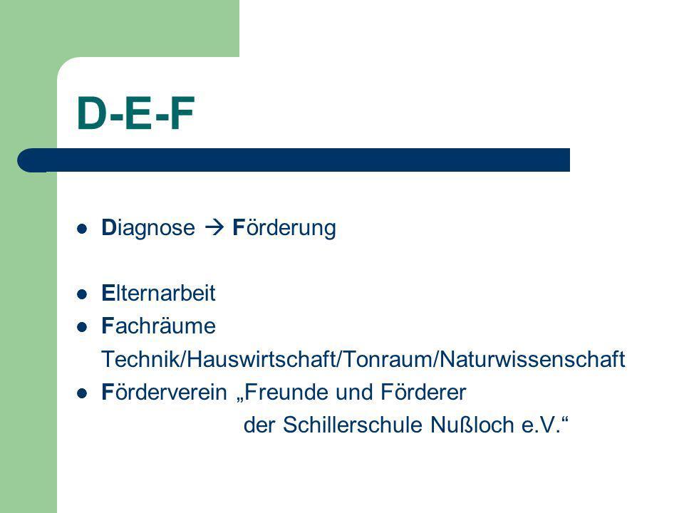 D-E-F Diagnose  Förderung Elternarbeit Fachräume