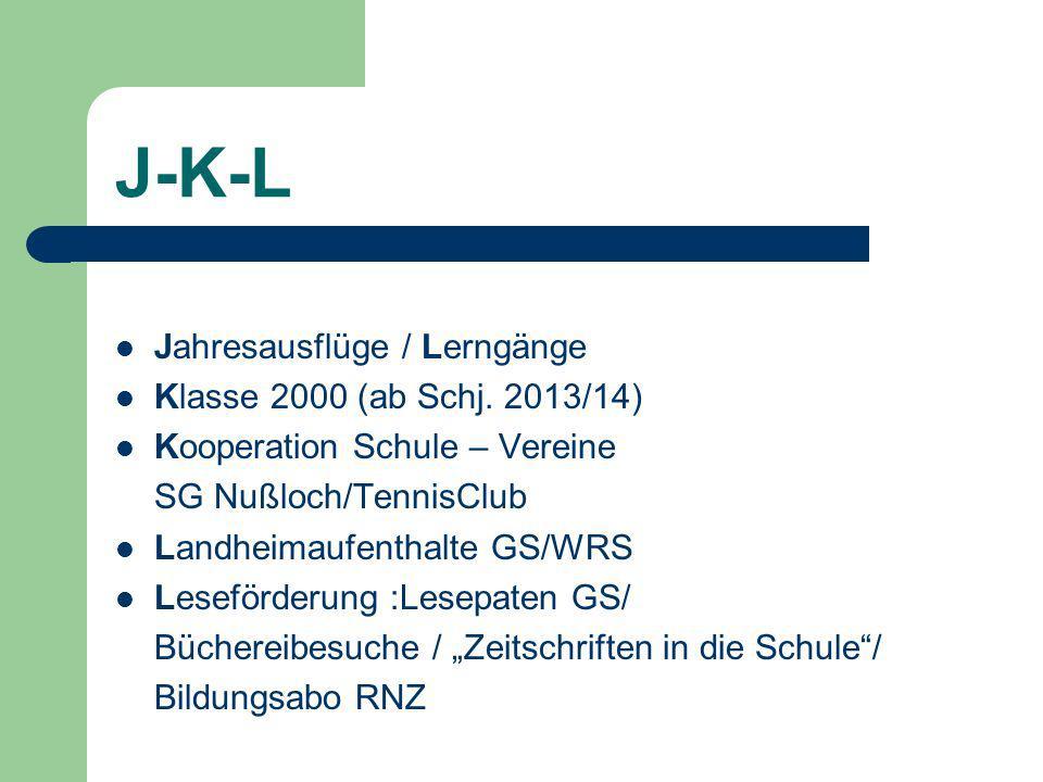 J-K-L Jahresausflüge / Lerngänge Klasse 2000 (ab Schj. 2013/14)