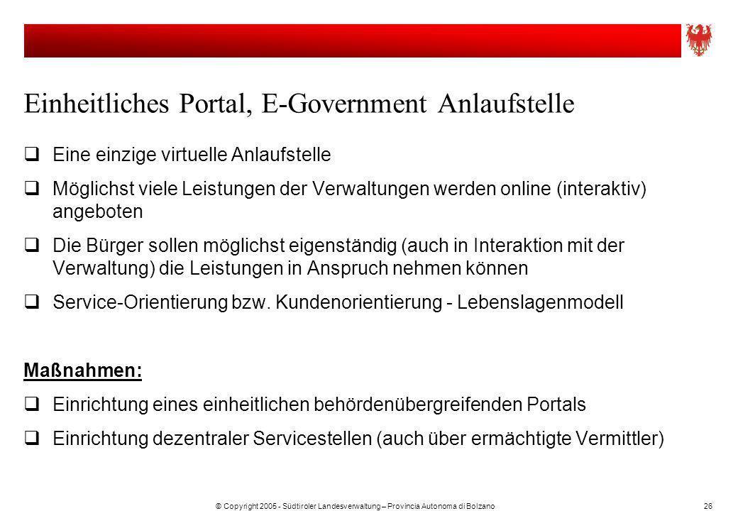 Einheitliches Portal, E-Government Anlaufstelle