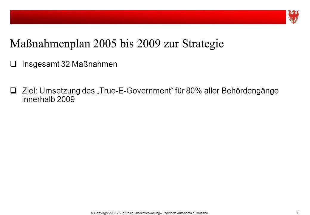 Maßnahmenplan 2005 bis 2009 zur Strategie