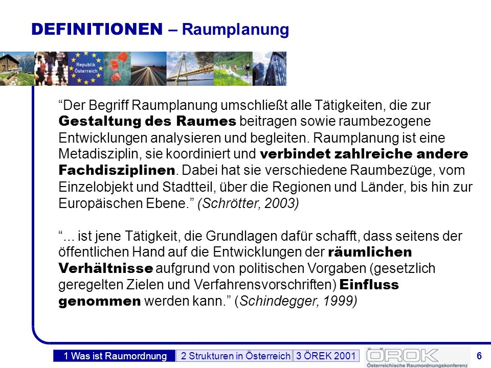 DEFINITIONEN – Raumplanung