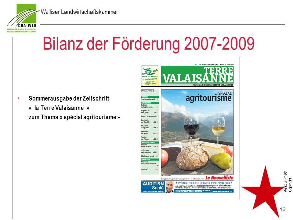 Bilanz der Förderung 2007-2009 Walliser Landwirtschaftskammer