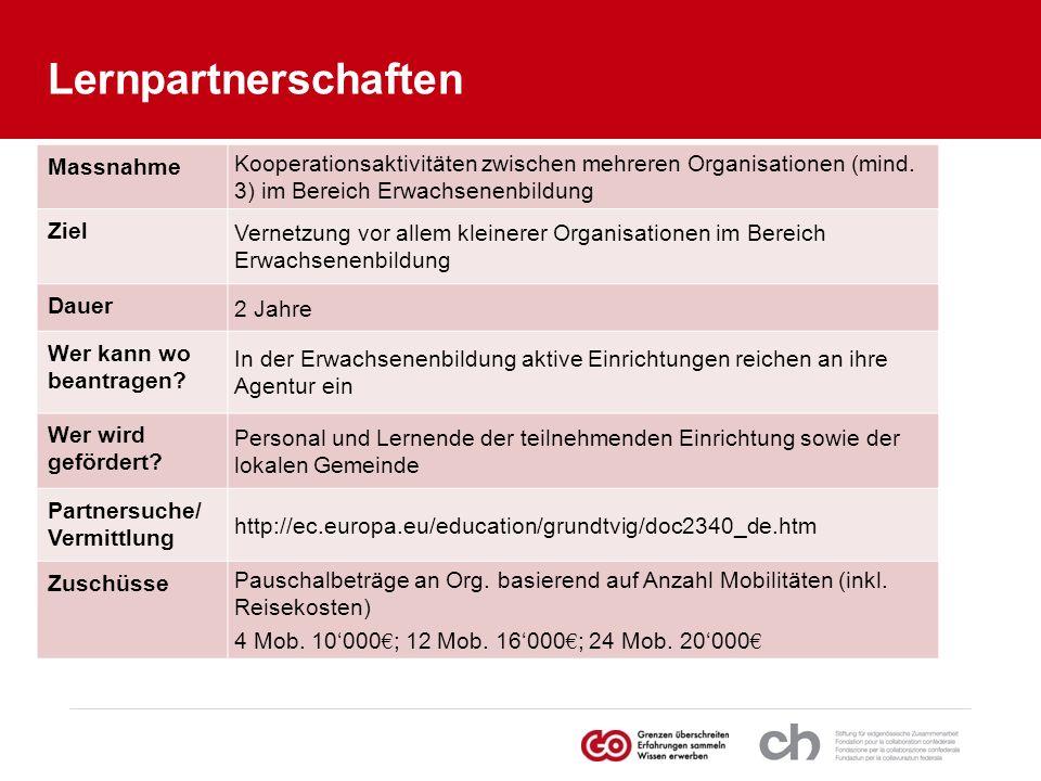 Lernpartnerschaften Unter Kooperationsaktivitäten versteht man z. B.: