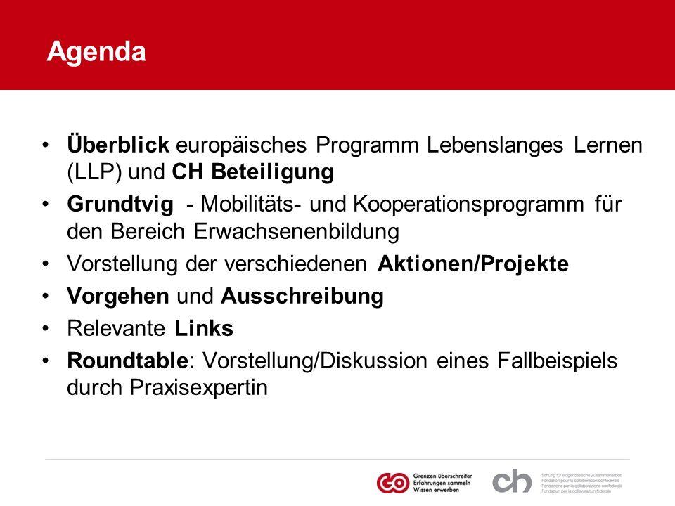 Agenda Überblick europäisches Programm Lebenslanges Lernen (LLP) und CH Beteiligung.