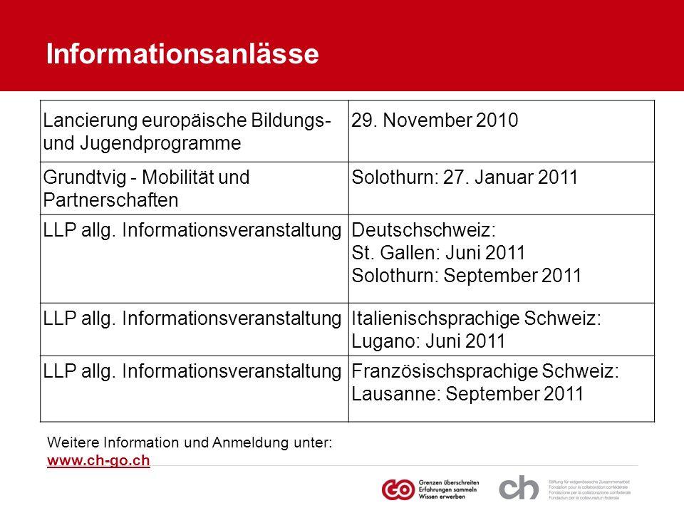 Informationsanlässe Lancierung europäische Bildungs-