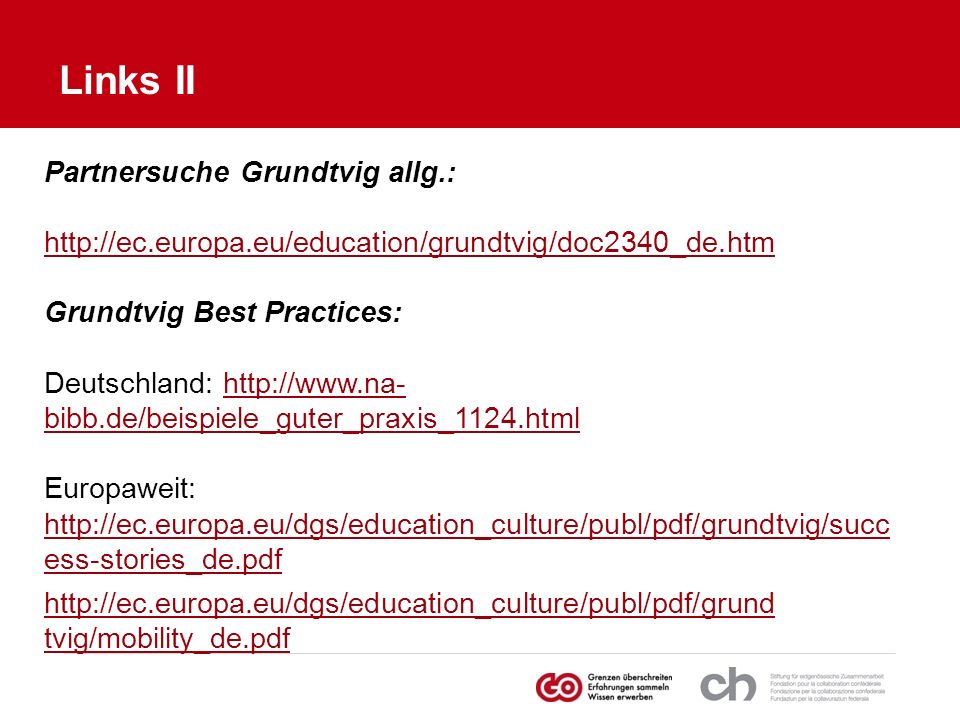 Links II Partnersuche Grundtvig allg.: