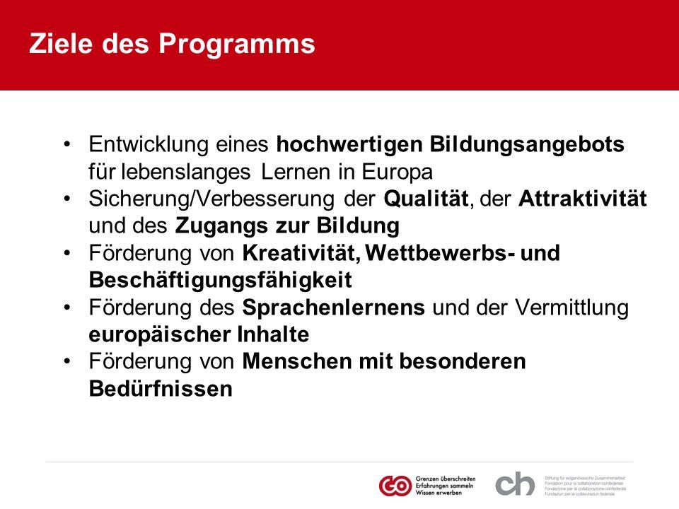 Ziele des Programms Entwicklung eines hochwertigen Bildungsangebots für lebenslanges Lernen in Europa.