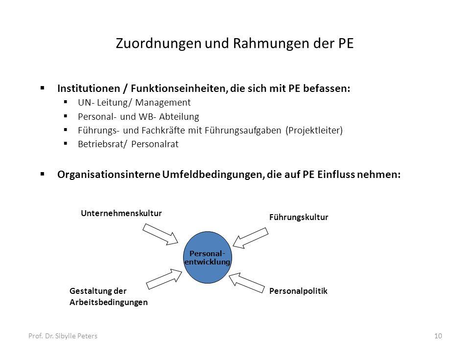 Zuordnungen und Rahmungen der PE