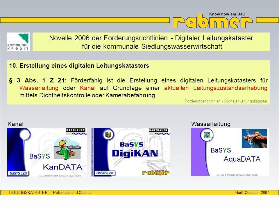 Novelle 2006 der Förderungsrichtlinien - Digitaler Leitungskataster