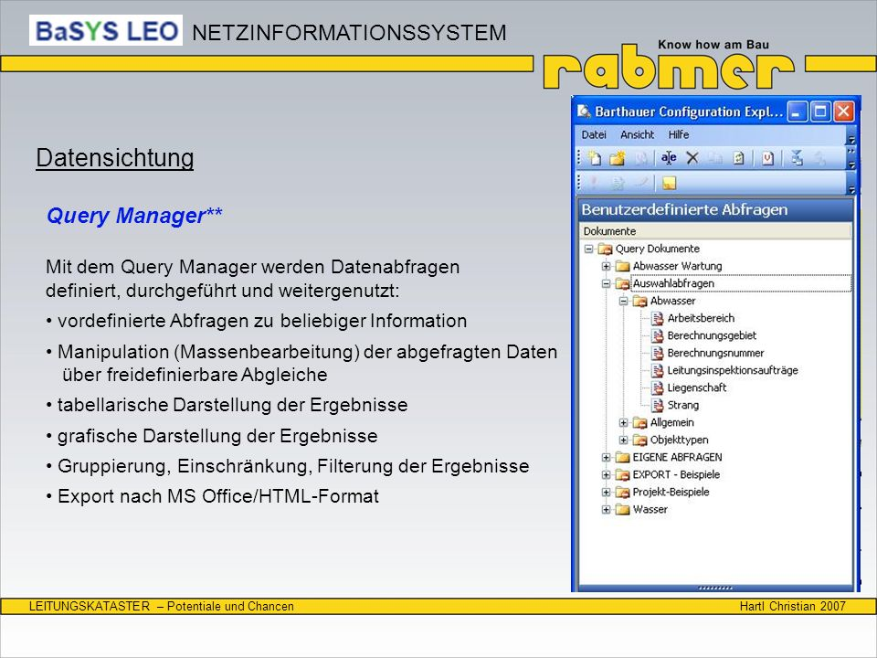 Datensichtung NETZINFORMATIONSSYSTEM Query Manager**
